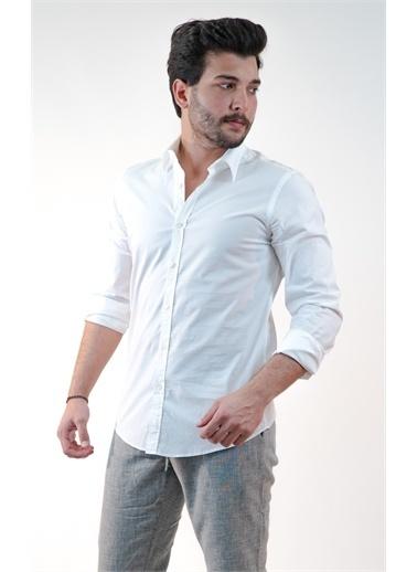 Boris Becker Gömlek Yaka Uzun Kol Erkek Poplin Gömlek Beyaz